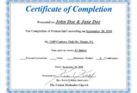 Amazing Marriage Counseling Certificate Template