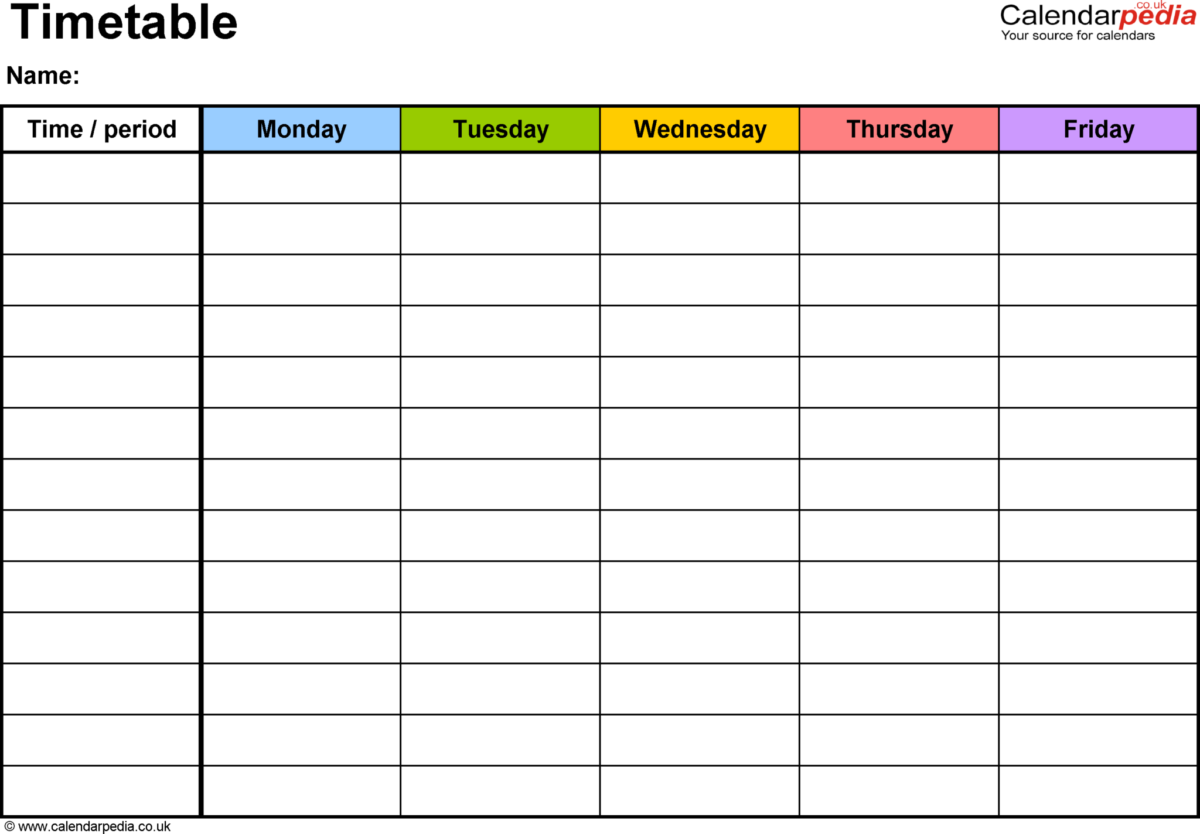 Simple Blank Revision Timetable Template