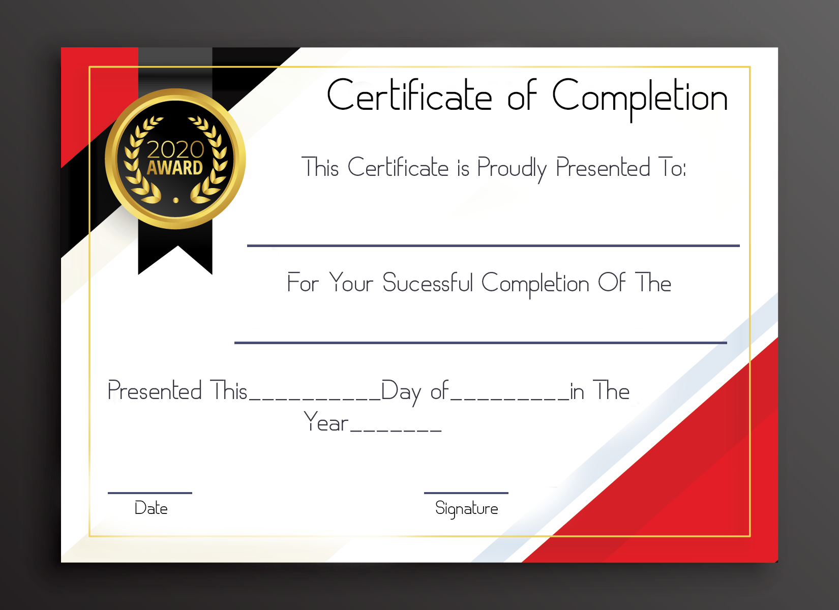 Awesome Certificate Of Completion Templates Editable