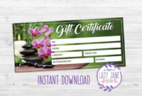 Awesome Spa Gift Certificate