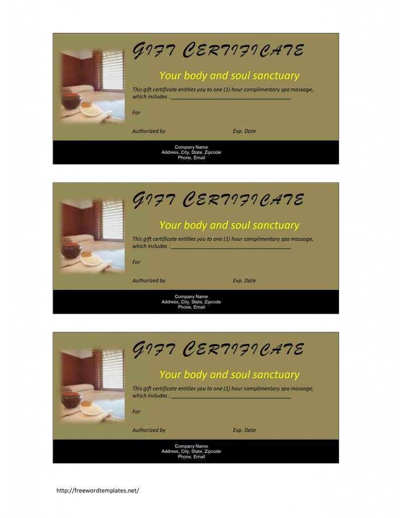 Amazing Spa Gift Certificate