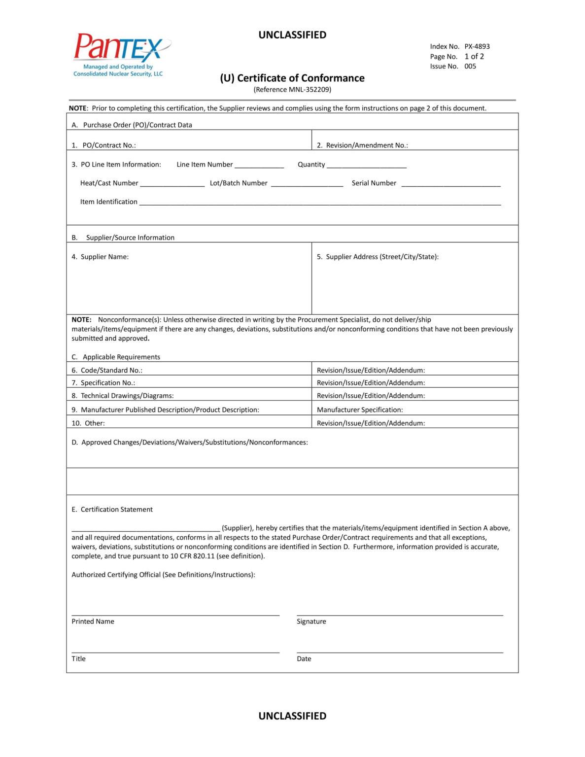Fantastic Conformity Certificate Template