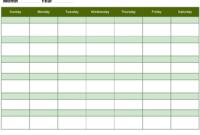 Free Blank Activity Calendar Template