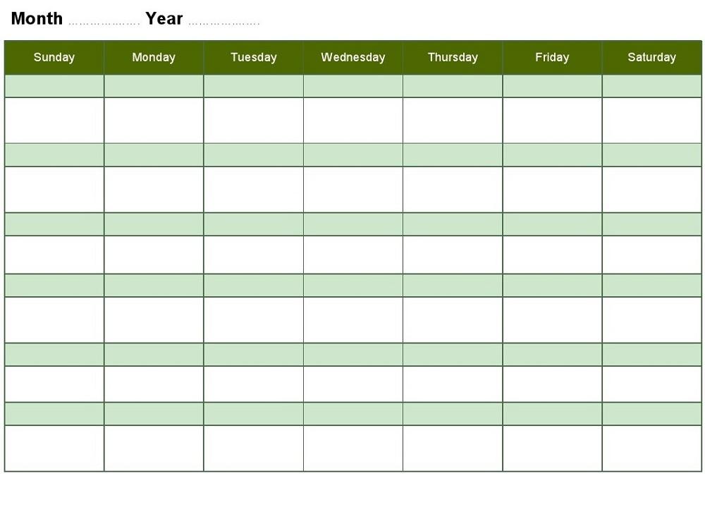Top Blank Activity Calendar Template