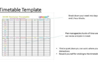 New Blank Revision Timetable Template