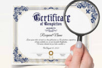 Professional Certificate Of Completion Templates Editable