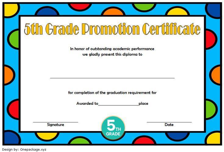 Fantastic 5Th Grade Graduation Certificate Template