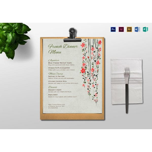 Amazing Menu Template For Pages
