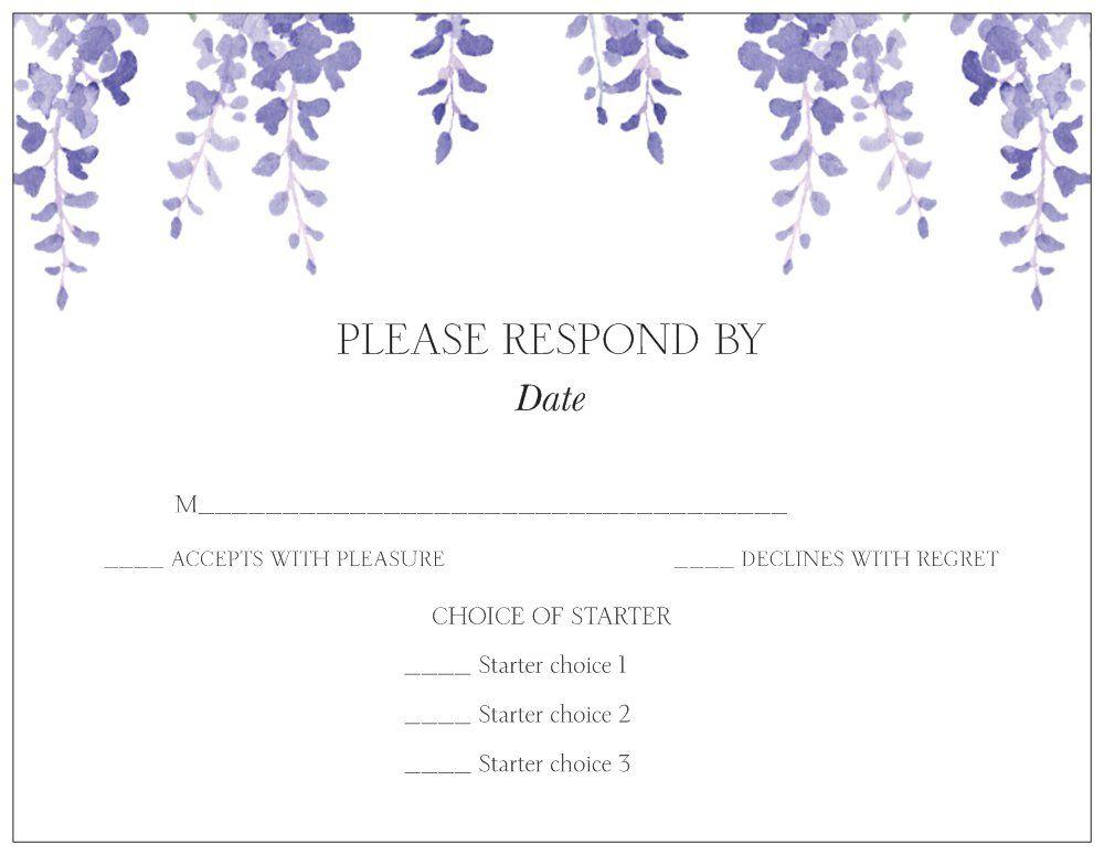 Amazing Wedding Rsvp Menu Choice Template