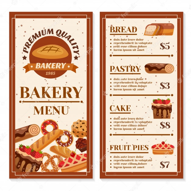 Awesome Free Bakery Menu Templates Download