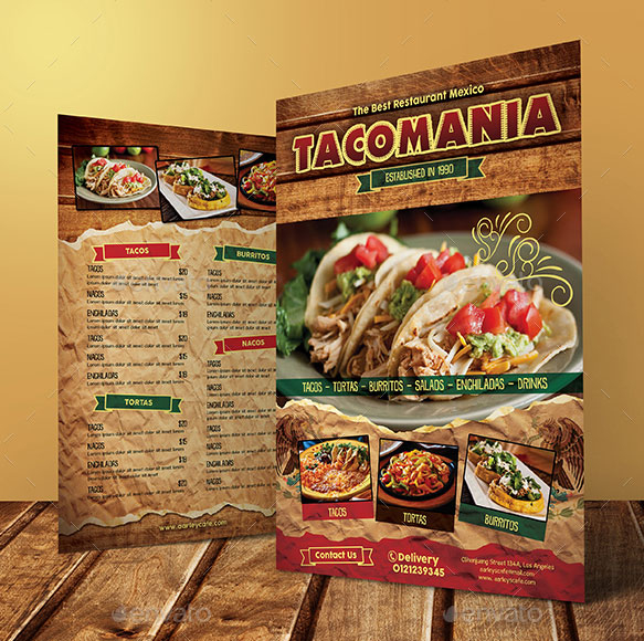 Stunning Mexican Menu Template Free Download
