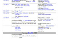 Awesome Travel Agent Itinerary Template