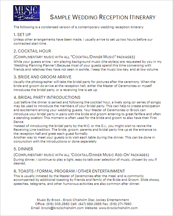 Awesome Wedding Party Itinerary Template