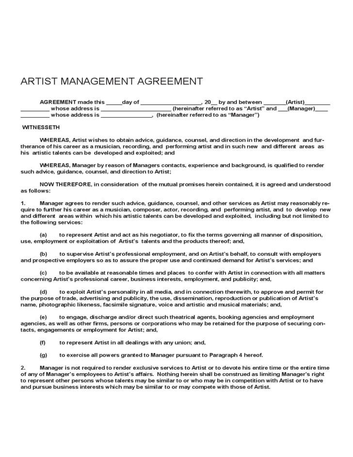 Best Artist Management Contracts Template