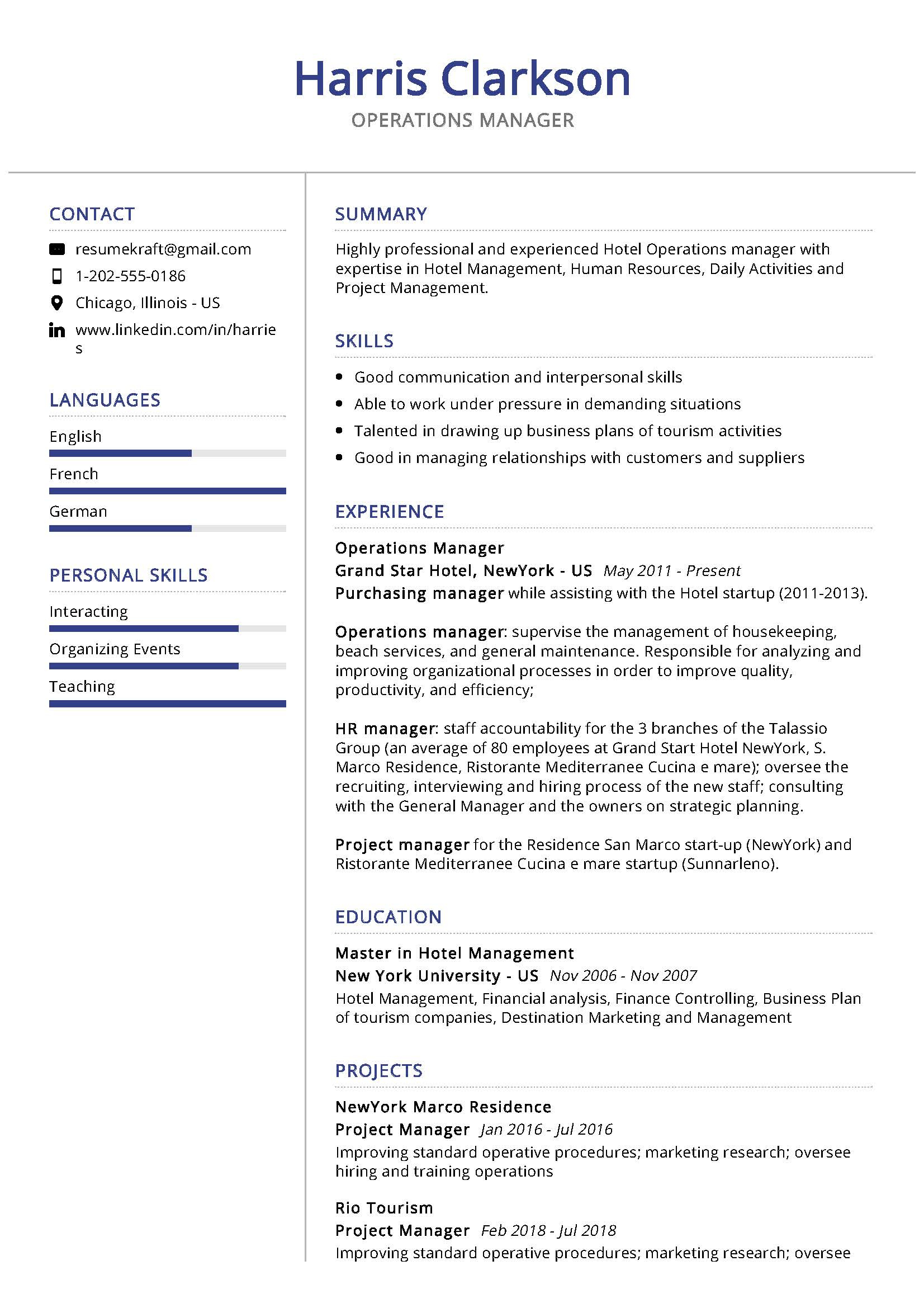 Best Business Management Resume Template