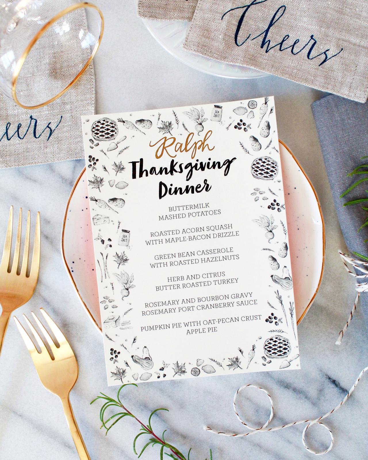 Best Thanksgiving Day Menu Template