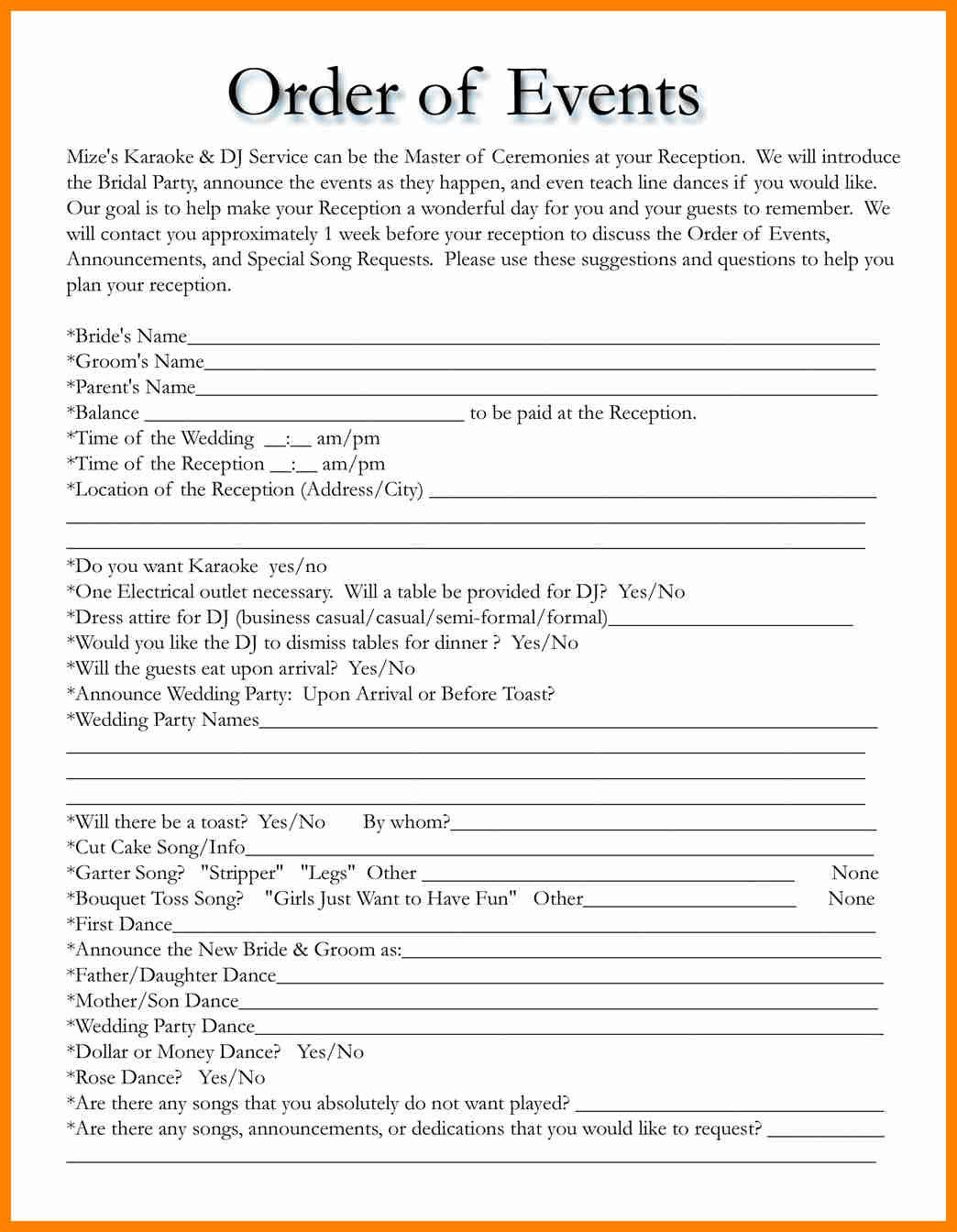 Best Wedding Party Itinerary Template