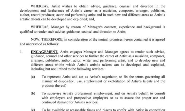 Fantastic Artist Management Contracts Template