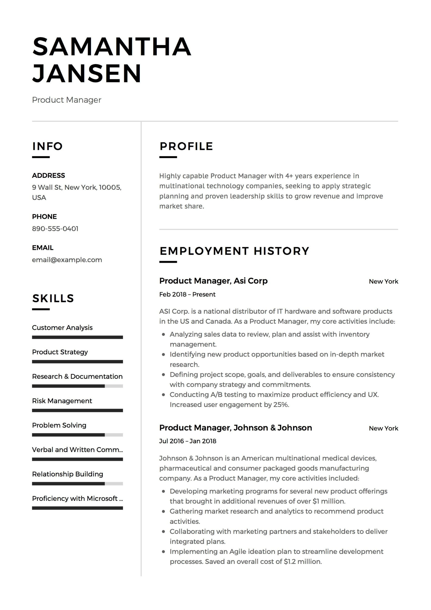 Fascinating Business Management Resume Template