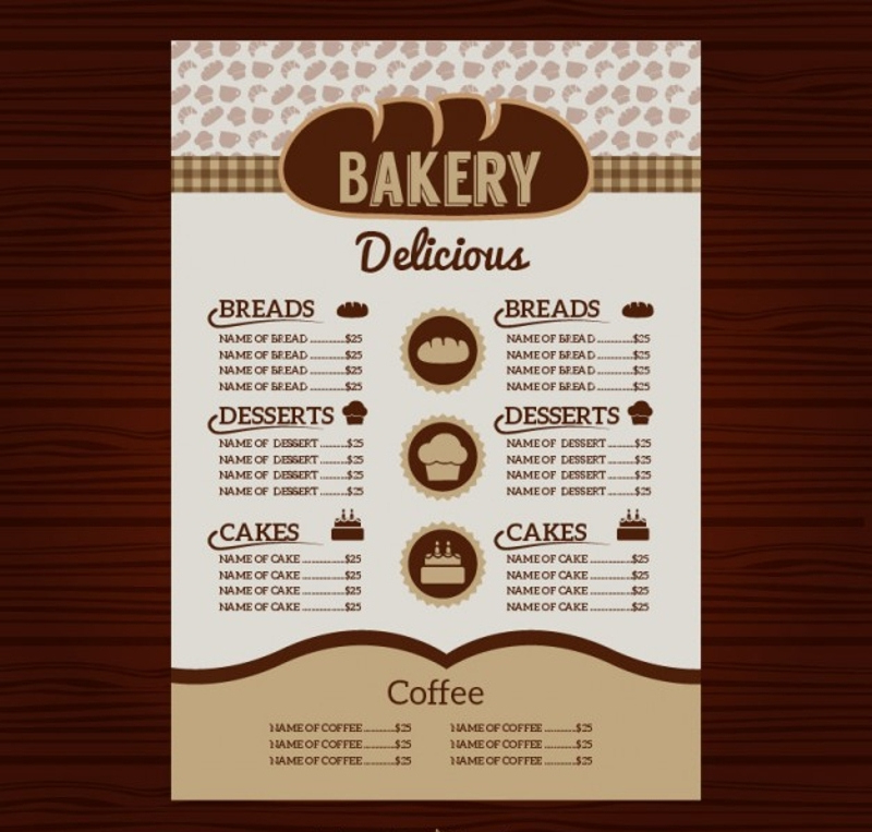 Fascinating Free Bakery Menu Templates Download