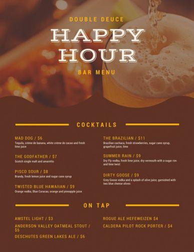 Fascinating Happy Hour Menu Template