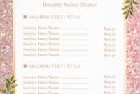 Free Salon Service Menu Template