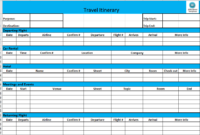 Fresh Day By Day Travel Itinerary Template
