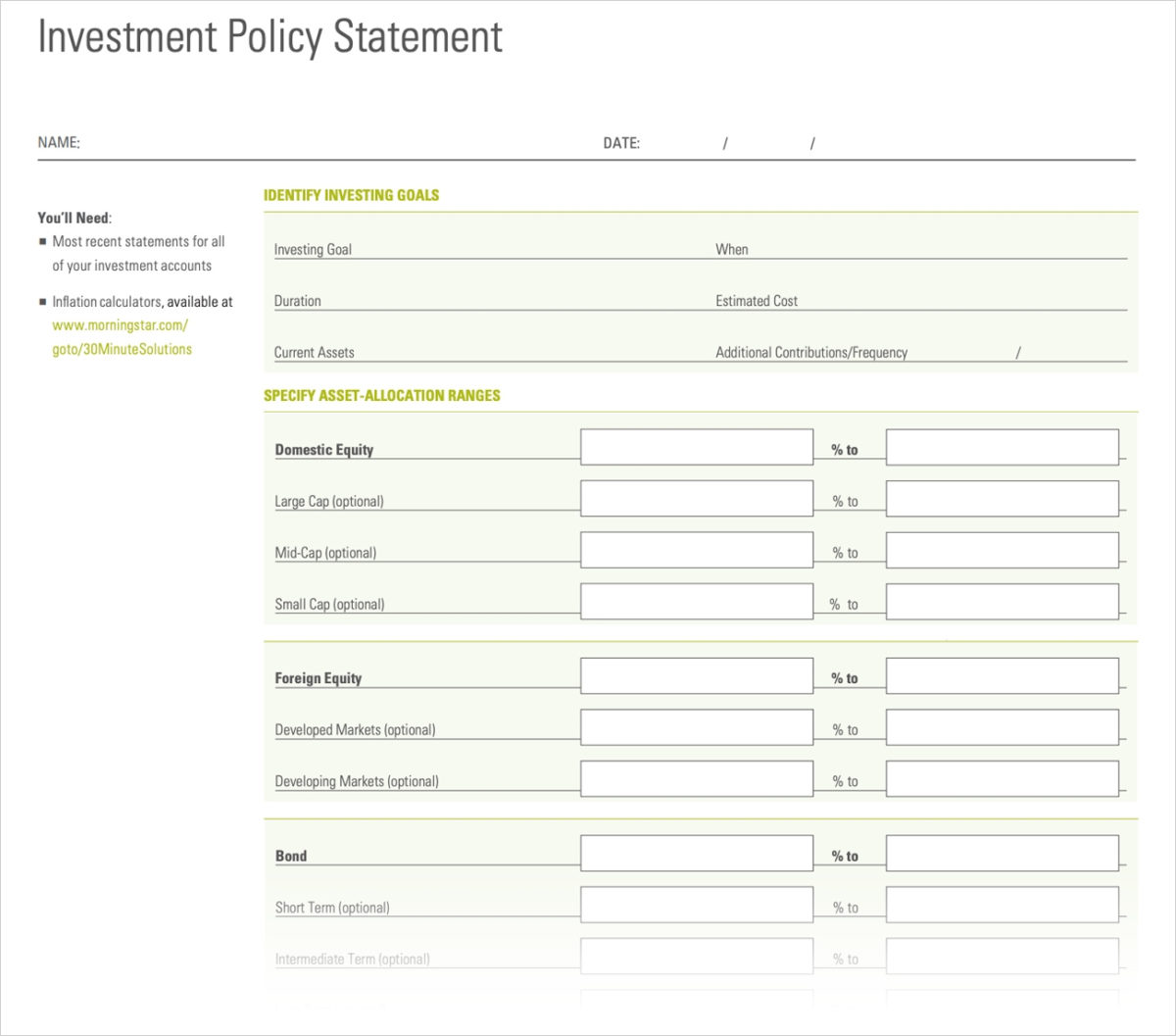 Stunning Investment Policy Statement Template For Individuals