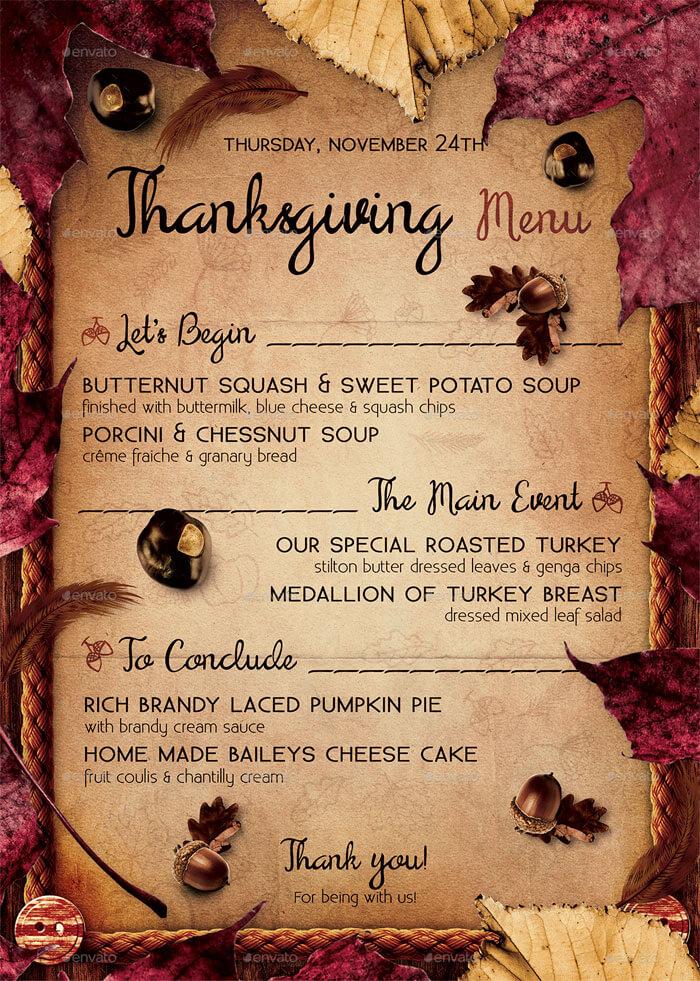 Fresh Thanksgiving Day Menu Template