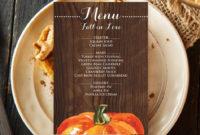 Fresh Thanksgiving Menu Template Printable