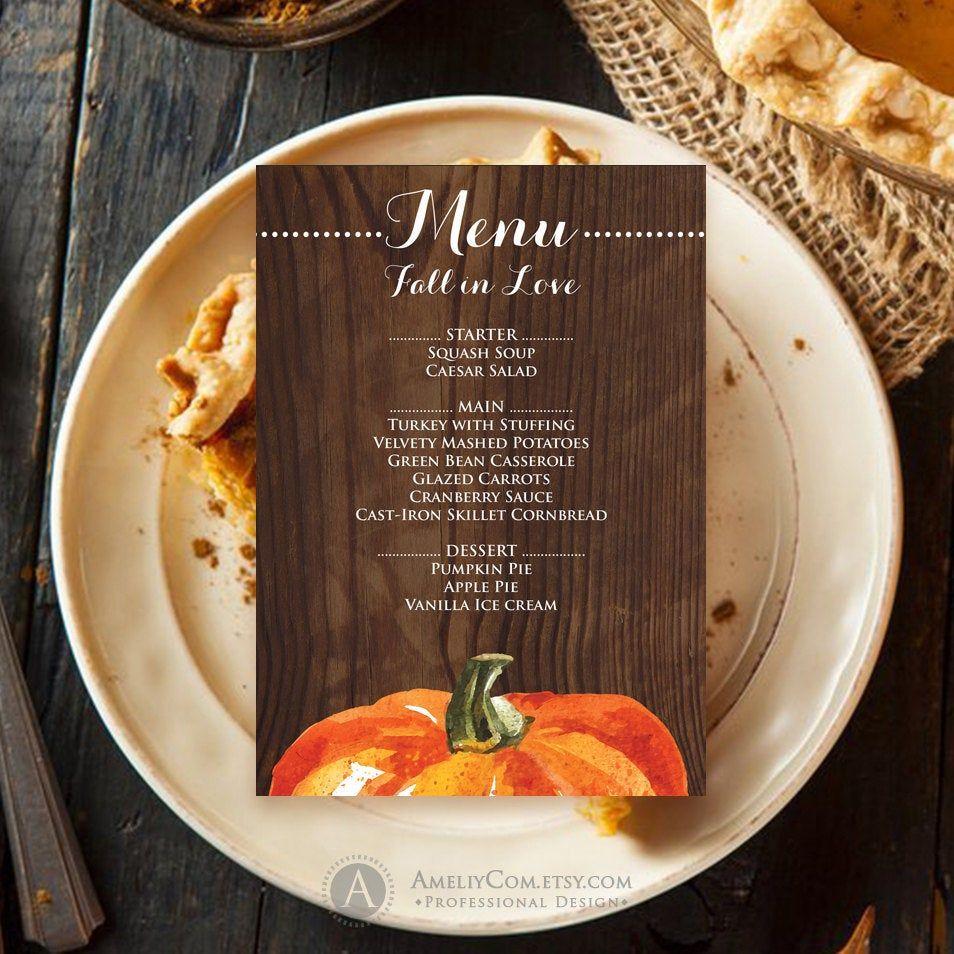 Amazing Thanksgiving Menu Template Printable