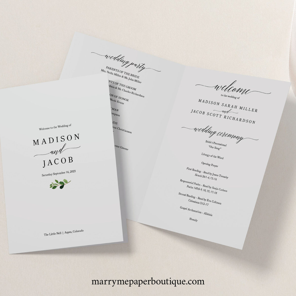 Fresh Wedding Ceremony Itinerary Template