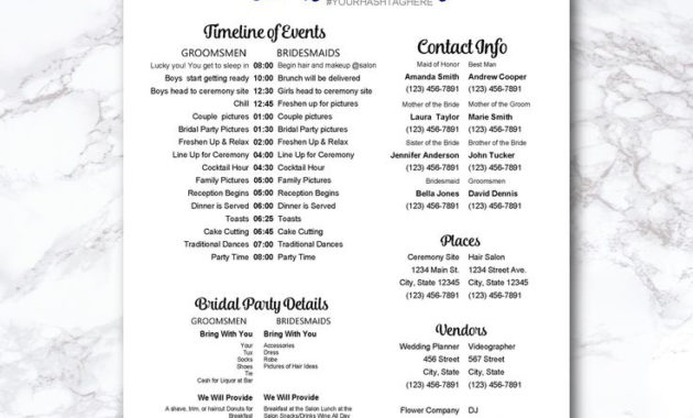 New Bridal Shower Itinerary Template