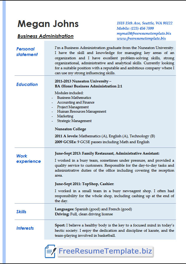 Professional Business Management Resume Template