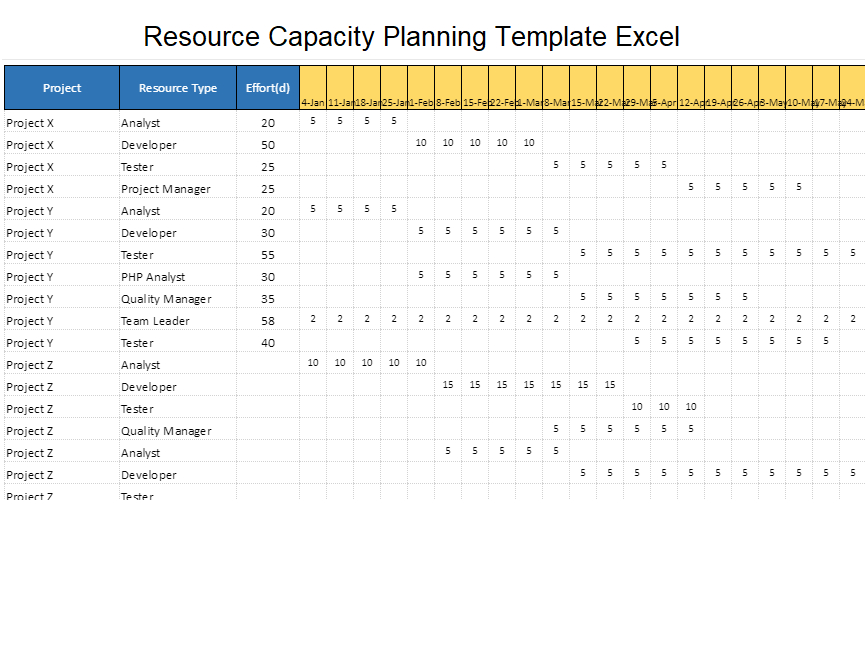 Professional Resource Management Spreadsheet Template