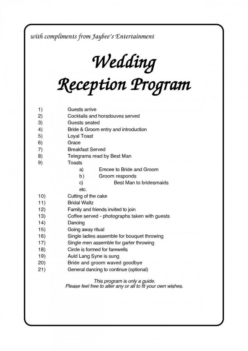 Professional Wedding Party Itinerary Template