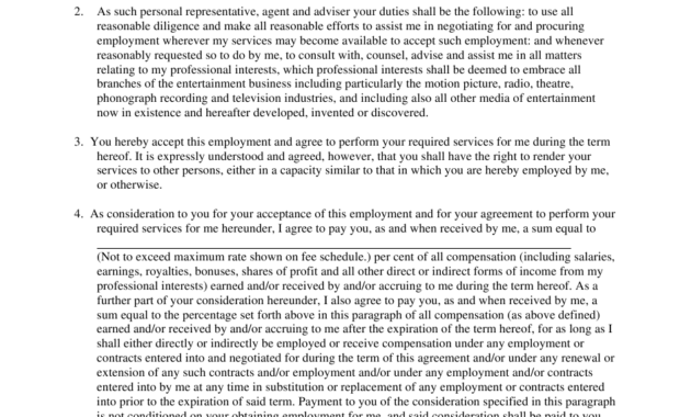 Simple Artist Management Contracts Template