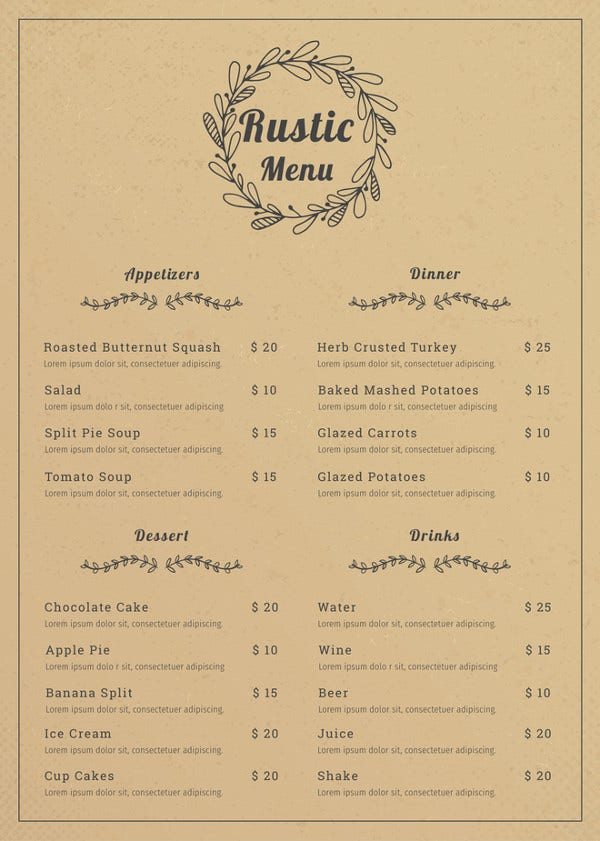 Simple Free Restaurant Menu Templates For Microsoft Word