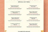 Simple Thanksgiving Menu Template Printable