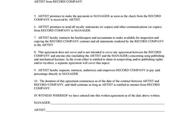 Stunning Artist Management Contracts Template