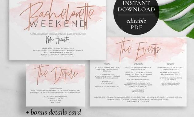 Stunning Bachelorette Weekend Itinerary Template