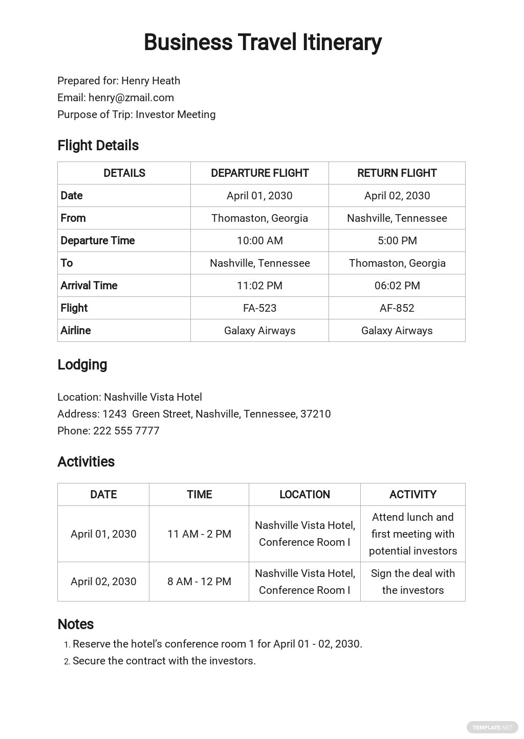 New Travel Agent Itinerary Template