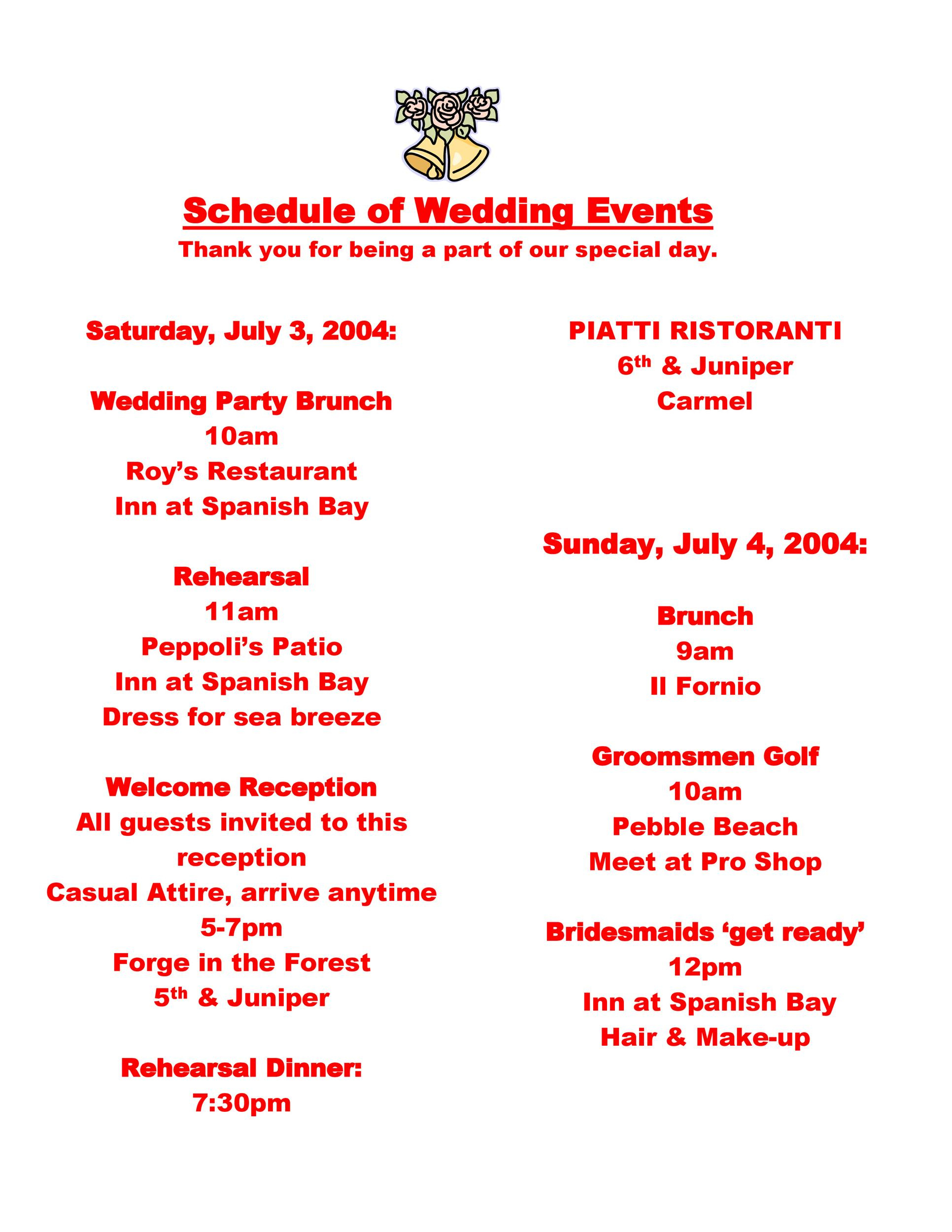 Top Wedding Party Itinerary Template